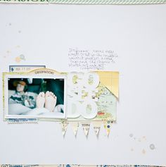 I love the stiching on her titles. Also love the thin patterned paper borders on the edges of the base cardstock. Clean and simple.