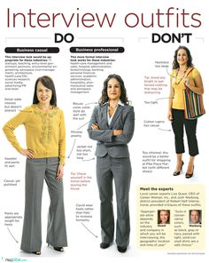 Interview Outfit Suggestions - Remember this is going to be your first impression.  Always error on the side of professional. #interview #outfits #what to #wear #interview #do's and #don'ts