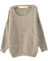 Grey Round Neck Long Sleeve Pockets Embellished Sweater $32.96