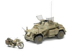 Tamiya has upgraded its SdKfz 222 kit with new figures, a metal gun barrel, and photoetched-metal grenade screens. Also included is a DKW NZ350 motorcycle and a fuel-drum set (everything for a diorama except the base). Markings are provided for three vehicles and three motorcycles. | #FineScale