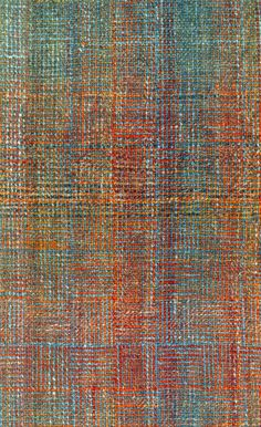 """(the trick is using ombre and varigated yarns on the warp and woof, on this log cabin block weave) Weathered Brick """"Log Cabin"""" Scarf – Benjamin Krudwig 