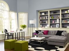 Benjamin Moore Paint Colors - Blue Living Room Ideas - Light, Low-Key Living Room - Paint Color Schemes . . . . . A calm blue-gray imparts Zen-like tranquility. . . . . . Walls - New Hope Gray (2130-50); Trim  Wainscoting - Lancaster Whitewash (HC-174); Bookshelf Insets (back wall in bookshelf) - Tempest (AF-590).