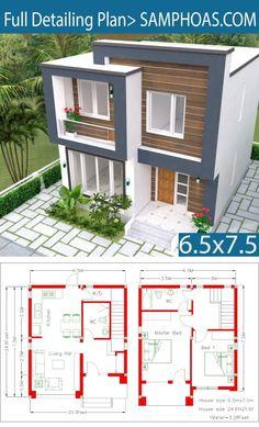 Home Design Plan 2 Bedrooms - SamPhoas Plan - House Architecture Duplex House Plans, House Layout Plans, Bedroom House Plans, Modern House Plans, Small House Plans, House Layouts, House Floor Plans, Small House Design, Modern House Design