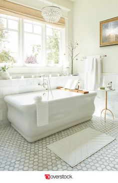 Find everything you need to give your bathroom a refresh at . Shop thousands of products and beautiful new furniture at the lowest prices---coffee tables, lamps, home décor, and more! -- All things home. Bathroom Renos, Bathroom Furniture, New Furniture, Small Bathroom, Bathroom Spa, Antique Furniture, Master Bathroom Tub, Colorful Bathroom, Spa Tub