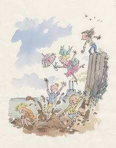 Quentin Blake - kids jumping into a puddle illustration Banksy, Quentin Blake Illustrations, Book Illustrations, Roald Dahl Characters, Vintage Illustration Art, Drawing For Kids, Ap Drawing, Gravure, Matilda