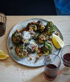 Brussels sprouts with walnut dressing, lemon and pecorino recipe :: Gourmet Traveller