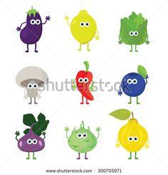 Vector cartoon fruit and vegetables. Cartoon fruit and vegetable characters set: eggplant, lemon, iceberg lettuce, mushroom, jalapeno, huckleberry, fig, kohlrabi, quince. Cute kawaii food characters.