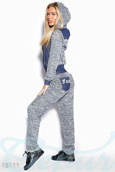 Gepur | Стильный повседневный костюм арт. 16111 Цена от производителя, достоверные описание, отзывы, фото , цвет: , цвет: серый, вставки - синий