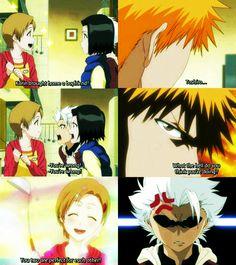 Ichigo defending Karin from Toshiro. Lol. #bleach