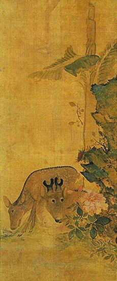 (Korea) Deer by Jang Seung-eop (1843-1897). aka Owon. colors on paper.