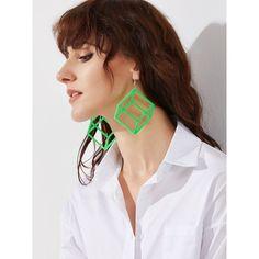 Green Hollow Out Polygon Drop Earrings ❤ liked on Polyvore featuring jewelry, earrings, green jewellery, green jewelry, drop earrings, green earrings and green drop earrings