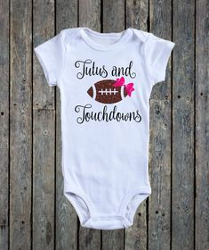 Tutus and Touchdowns/ Baby girl onesie/ baby girl outfit/ Football onesie/ Baby girl football/ Little sister onesie/ NFL/ Baby onesies by BeutiqueCreations on Etsy