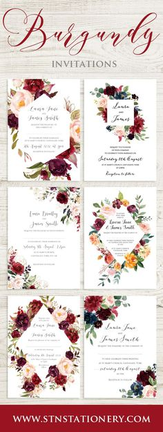 Burgundy, Red & Blush Wedding Invitations.