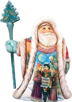 Artistic Wood Carved Christmas Carol Santa Claus Sculpture Holiday and Christmas Decoration. #SantaClaus #Santa #Claus #Christmas  #Figurine #Decor #Gift #gosstudio .★ We recommend Gift Shop: http://www.zazzle.com/vintagestylestudio ★