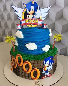 Sonic Birthday Cake, Birthday Cake Roses, Sonic Birthday Parties, Sonic Party, Twin Birthday, Bolo Sonic, Sonic Cake, Bolo Naruto, Hedgehog Birthday