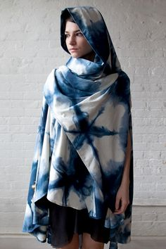 Shibori-dyed silk cloak by upstate, f/w 2011