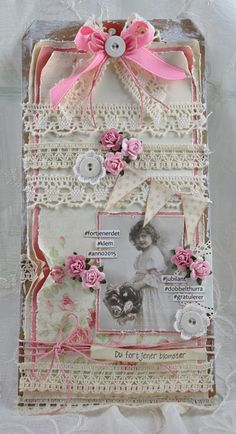 Shabby Chic Card With Lace, Buttons, and Flowers Vintage Tags, Vintage Paper, Card Tags, Gift Tags, Shabby Chic Cards, Fabric Journals, Handmade Tags, Scrapbooking, Paper Tags