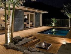 Awesome Mediterranean Deck Designs For The Summer is part of Outdoor bathtub - As a Landscape Designer, I'm often asked for tips and advice on outdoor living and garden design The single biggest […] Design Exterior, Modern Exterior, Backyard Pool Designs, Backyard Patio, Backyard Ponds, Outdoor Bathtub, Indoor Outdoor, Diy Deck, Building A Deck