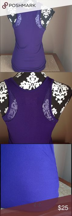 UNDER ARMOUR tank top lace razor back heat gear Under armour tank top. Size medium. Purple color. Razor back style with lace detail. Fitted. Heat gear. Good preowned condition. Please look at all pictures before you purchase. And ask any . Thanks Under Armour Tops Tank Tops