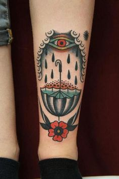 rain umbrella and eye traditional tattoo - Traditional tattoos