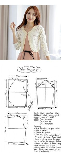 Boleros inspiration to make your own Blouse Patterns, Clothing Patterns, Blouse Designs, Bolero Pattern, Jacket Pattern, Fashion Sewing, Diy Fashion, Sewing Clothes, Diy Clothes