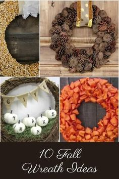 10 Fall Wreath Ideas that you are going to want to make this year! Such lovely fall front door ideas and the perfect autumn decor accessory!