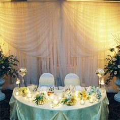 Brides: White and Yellow Sweetheart Table Decor. The couple sat at a sweetheart table in the center of the ballroom.�Each of the tables'�centerpieces featured pale yellow and sage roses surrounded by small candles, which they chose to allow people to look across the table and talk without obstruction.