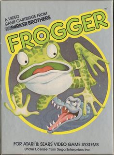 "Box art for the Atari 2600 version of ""Frogger,"" an action arcade game that Atari released in 1981."