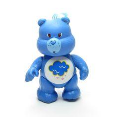 Grumpy Bear Poseable Vintage Care Bears Toy Blue Figurine with Rain Cloud