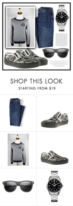 """""""RinaStore #4 / III"""" by amra-sarajlic ❤ liked on Polyvore featuring Lands' End, TAG Heuer, men's fashion, menswear, rinastore and rinasboutique"""