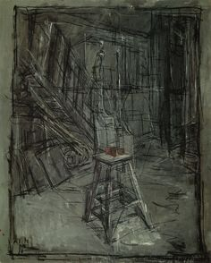 Studio with apples on a stool ~ Alberto Giacometti, 1953 space Alberto Giacometti, Giacometti Paintings, Line Drawing, Painting & Drawing, Conceptual Drawing, Chiaroscuro, Elements Of Art, Sculpture, Artist Art