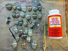 Rock dominoes! Rawthah nifty for camp or the cabin, perhaps?