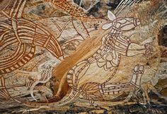 Rock paintings - visual documentation of Aboriginal history and The Dreamtime mythology. Indigenous Australian Art, Indigenous Art, Australian Aboriginal History, Aboriginal Culture, Aboriginal Art, Aboriginal People, Tempera, Fresco, Art History Timeline
