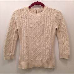 Cashmere Blend Knit Crewneck Zip Sweater 3/4 inch sleeves; soft- 30% cashmere; zip detail at back of neck; great sweater LaRok Sweaters Crew & Scoop Necks