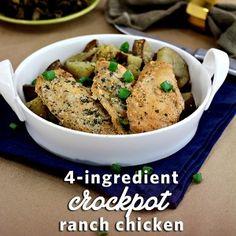 4 Ingredient Crockpot Ranch Chicken Recipe - Wanna Bite