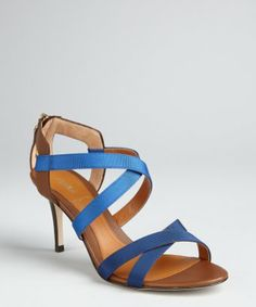 High price, but too pretty to exclude: Fendi : indigo grosgrain and leather strappy sandals