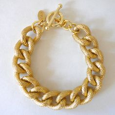 Chunky Textured Gold Chain Bracelet. $20.00, via Etsy.