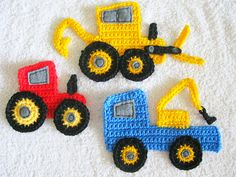 Crocheted construction vehicle appliques - digger, tractor and tow truck! Crocheted construction vehicle appliques - digger, tractor and tow truck! Crochet Car, Bead Crochet, Crochet Motif, Crochet For Kids, Baby Blanket Crochet, Crochet Crafts, Crochet Flowers, Crochet Toys, Crochet Projects