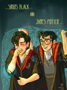 James Potter Sirius Black Quite the double act James Potter, Harry Potter Fan Art, Harry Potter Comics, Harry Potter Marauders, Harry Potter Drawings, Harry Potter Jokes, Harry Potter Pictures, Harry Potter Universal, Harry Potter Fandom