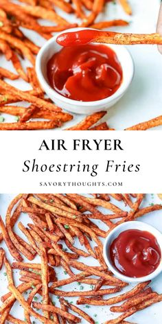 These crispy Shoestring Fries are sooooo good and a healthier alternative to the traditional crispy French fries that are made in the deep fryer. These seasoned fries are flavored to perfection, fried in the air fryer, and complete any burger or meal! #airfryer #fries #shoestringfries #dinner #savorythoughts @Msavorythoughts | savorythoughts.com Drink Recipes, Appetizer Recipes, Real Food Recipes, Snack Recipes, Appetizers, Potato Recipes, Vegetable Recipes, Vegetarian Recipes, Healthy Recipes
