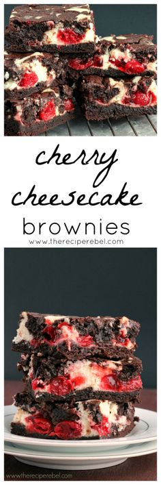 Cherry Cheesecake Brownies: luscious, fudgy brownies filled with cherry cheesecake filling. Totally decadent and perfect for Valentine's Day... or just any day you need some chocolate! www.thereciperebel.com