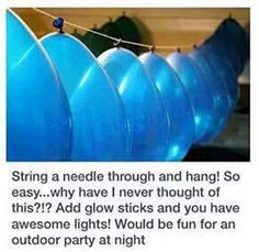 1000 Life Hacks on Party ideas: Stringing balloons for an inexpensive party decoration. Holi Party, Grad Parties, Birthday Parties, Birthday Ideas, Birthday Balloons, Bonfire Birthday Party, 16th Birthday, Outdoor Graduation Parties, Teen Parties