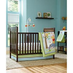 decoration: Perfect Baby Nursery Room Using Turquoise Interior Design Feat Dark Wooden Baby Cribs Plus Likeable Winnie The Pooh Quilt Pattern Design, Cute Baby Quilt Pattern and Art Design, Luxury Busla: Home Decorating Ideas and Interior Design Unisex Baby Room, Baby Boy Rooms, Baby Cribs, Room Baby, Baby Bedroom, Master Bedroom, Dark Wood Nursery, Nursery Dark Furniture, Wood Furniture