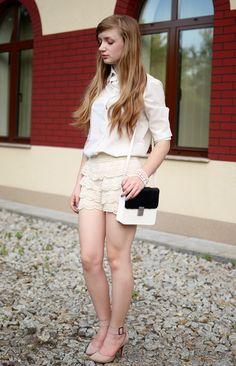 feminine blouse with lace shorts