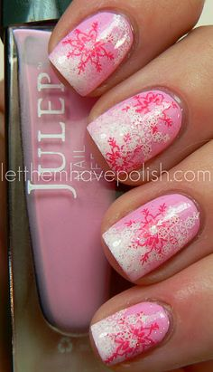 Holiday Nails with Pink Snow flakes