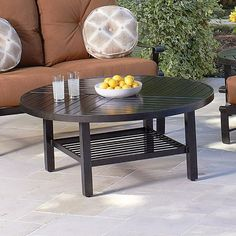 Woodard 48 in. Round Slatboard Chat Table - Patio Accent Tables at Hayneedle