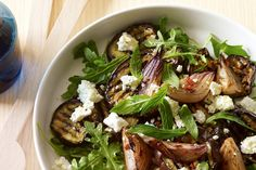 Try your hand at this gutsy flavoured, Mediterranean-inspired salad. Eggplant, red onion, chilli, rocquet, feta salad