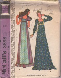 The one with long sleeves . . . obviously not with a fabric like that though.    MOMSPatterns Vintage Sewing Patterns - McCall's 3898 Vintage 70's Sewing Pattern DREAMY Gunne Sax Style Puff or Long Sleeve Square Neck Empire Waist, Tie Back, Contrast Apron Inset Boho Maxi Dress, Gown INCOMPLETE