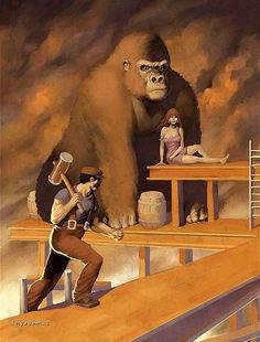 Fan Art do primeiro jogo em que os personagens Donkey Kong e Mario apareceram.