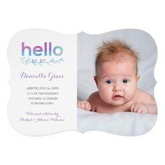 Sweet Hello Watercolor Photo Birth Announcement
